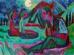 Ernst Ludwig Kirchner - Handorgler in Mondnacht