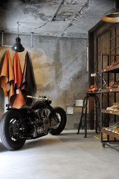 ' — Cafe Racer Gentleman's Essentials Motorcycle Shop, Motorcycle Garage, Biker Shop, Motorcycle Leather, Garage Loft, Dream Garage, Inazuma Cafe Racer, Café Bar, Garages