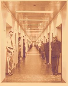 Research lab hallway at opening of GE Research Center in Niskayuna, New York in 1950. #GE