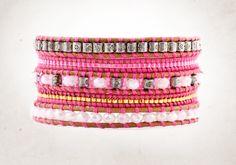 PINK Wrap Bracelet,  5 layers Wrap Braclet by ValerieHDesign on Etsy