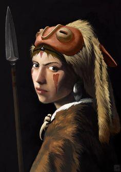 """Princess with a Pearl"" painting of Princess Mononoke. By CedriCBaer."