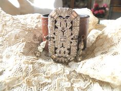 leather cuff bracelet upcycled pin assemblage deco vintage rhinestones shabby chic