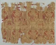extile with Brocade Date: ca. 1200 Culture: Spanish Medium: Silk, gold thread Dimensions: Overall: 6 1/2 × 8 1/4 in. (16.5 × 21 cm)