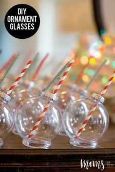 These darling DIY Ornament Glasses just scream holiday cheer in a glass.  Veronica Beeler is sharing with us an easy project that we all must make this holiday season! - http://momsoftulsa.com/diy-ornament-glasses/
