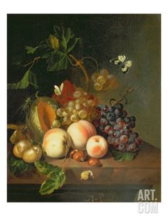 A Still Life on a Marble Ledge Giclee Print by Rachel Ruysch at Art.com