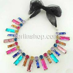 Kristall Zinklegierung Halskette, mit Satinband & Zinklegierung, Platinfarbe platiniert, mit Strass