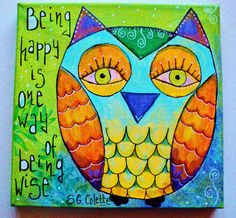 Mixed media original Owl painting OOAK 20x20 by makeartbehappyshop, €29.00