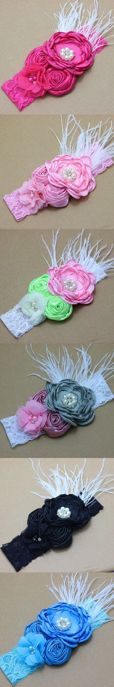 Chiffon Lace Baby Headband satin rose Flower Girls Headband Hair Bow Flower Headband for Baby Girl Children Hair Accessories