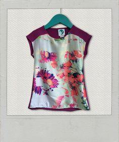 Langarmshirts - *T-Shirt, Materialmix Blumen, Gr. 104* - ein Designerstück von Vibrant17four bei DaWanda