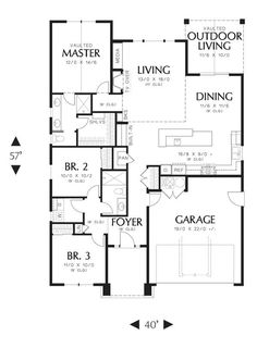 First Floor image of Featured House Plan: BHG - 3086, 1529sf, 3/2/opt basement. Also #3086 on thehousedesigners.com.