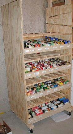 Build a rotating canned shelf How To Build a Rotating Canned Food Shelf…could be as fancy or utilitarian as you would like, but great idea for can storage and makes sure you use the oldest stock first! - Own Kitchen Pantry Food Storage Shelves, Food Shelf, Canned Food Storage, Can Storage, Built In Shelves, Kitchen Storage, Storage Ideas, Pantry Storage, Kitchen Pantry
