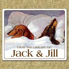 Sleeping Dachshunds Personalized Ex Libris Bookplate Labels Vintage Dachshund, Dachshund Art, Vintage Dog, Daschund, Dachshund Breed, Dachshund Gifts, Ex Libris, Scottish Terrier, Dog Lover Gifts