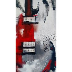 Guitar Painting, Abstract Painting, Red White Black Painting, Large... ❤ liked on Polyvore featuring home, home decor, wall art, red wall art, canvas painting, black and white canvas wall art, guitar painting and red canvas wall art