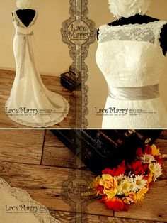 High Neckline Open V-Back Lace Wedding Dress in Slim A-Line Style, Comes with Satin Sash - Lace Wedding Dresses