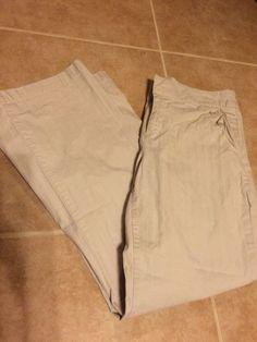 Coldwater Creek 8P Petite Khaki Pants Lightweight Beige Cotton Blend Short 27 in #ColdwaterCreek #KhakisChinos