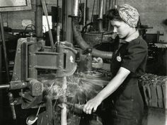 Women took on the traditional male roles at factories across the country, like this one in Toronto in April Women also found themselves in military service with more than recruited to be mechanics or drivers. Military Service, Vintage Girls, Girl Boss, Wwii, Toronto, Army, Traditional, History, Factories