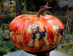 Halloween Welsh Terrier Hnd Ptd Large Pumpkin - Decorative Autumn Airedale