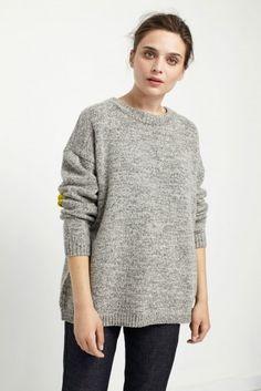 NEW Grey Flecked Marl Wool Sweater