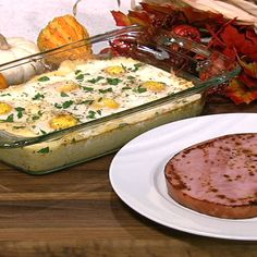 the chew | Recipe  | Carla Hall's Eggs In Heaven.  One of my favorites.. Eggs baked over hominy or grits, served with ham