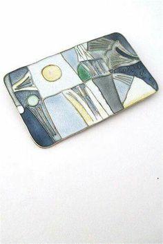 "Brooch by: David-Andersen, Norway designer: Thorbjorn Lie-Jorgensen, 1959 materials: sterling silver, enamel size: 2 1/2"" x 1 1/2"