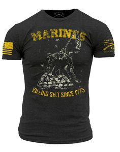 Marines - Killing Sh*it Since 1775   Details: Grey T-Shirt Ultra comfortable, soft, and light weight 60/40 Cotton/Polyester Flag and Logo on the sleeves Made in