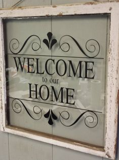 "Vintage Single Pane Window Personalized by VaughnCustomCreation pane ideas vinyl Vintage Single Pane Window Personalized ""Welcome to our Home"" window pane ideas"