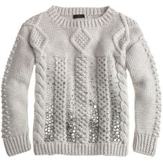 J.Crew Collection handknit jeweled cable sweater (€255) found on Polyvore