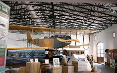 A flying Jennie hangs above the Pancho Vllla State Park Exhibition Hall in Columbus, N. M. The Jennies were first used by the U.S. Army Air Service during