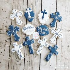 First Communion Decorations, Baptism Decorations, Boys First Communion, First Communion Cakes, Baptism Party, Boy Baptism, Baptism Ideas, Easter Cookies, Sugar Cookies
