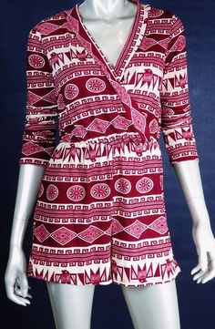 B_ENVIED CASUAL JUMPSUIT ROMPER LONG SLEEVES WRAP TOP SHORTS BOTTOM TRIBAL SMALL #B_ENVIED #Jumpsuit