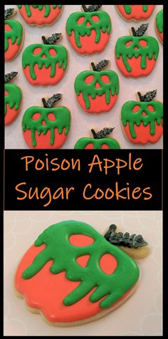 Try making these fun poison apple sugar cookies! They are just four steps and are guaranteed to be the treat of your next Halloween party!  #butfirstcookies #halloween #halloweencookies #poisonapple #decoratedcookies #sugarcookies
