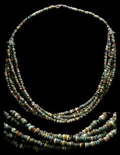 by Ancient Resource (Gabriel Vandervort) | Necklace; Ancient Egypt, Late Period, 664-535 BC. faience beads, restrung on modern jewelry wire and silver beads and clasp | 325$