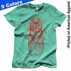 Women's Cicada (red) T-shirt S-XXL American Apparel, Vintage Entomology Engraving, Insect, Enlightenment, Science, Cool Gift!