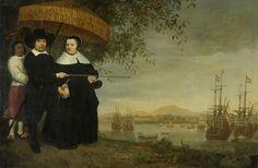 Een opperkoopman van de VOC, met op de achtergrond de retourvloot op de rede van Batavia. Aelbert Cuyp, ca. 1640-1660