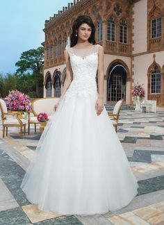 Sincerity wedding dress style 3848   Tulle, beaded alencon and venice lace ball gown complemented with a Sabrina neckline