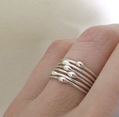 Sterling Silver Stacking Ring Set Rain Set of Six by esdesigns, $45.00...if…