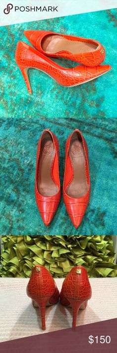 Tory Burch Croco Pumps Size 7 1/2 Beautiful color, textured leather, timeless style! Will give that pop of color to any outfit! Worn once, basically brand new, no box. Tory Burch Shoes Heels