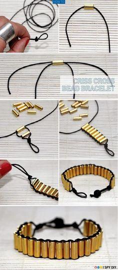 My DIY Projects: Make a Criss Cross Bead Bracelet