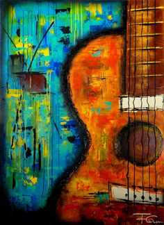 Paintings art by fernando garcia guitar painting, music painting, watercolo Music Painting, Guitar Painting, Music Artwork, Guitar Art, Music Guitar, Painting Art, Abstract Canvas Art, Abstract Paintings, Art Paintings