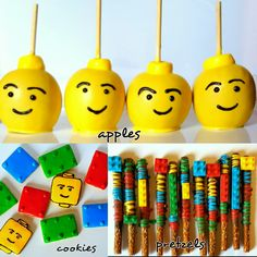 Lego Theme Treats. Cookies, Chocolate Dipped Candy Apples, Chocolate Covered Pretzel Rods