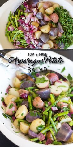 Asparagus Potato Salad is made with red, gold and purple baby potatoes ...