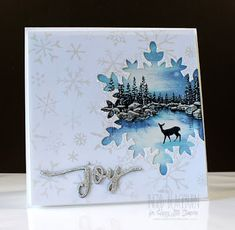 handcrafted winter/Christmas card .... Happy Little Stampers ... winter lake scene exposed in snowflake die cut ... sliver glittered JOY ... fab card ...