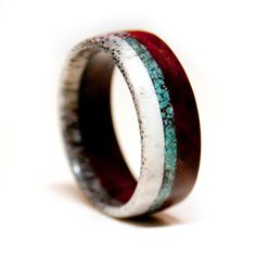 Wood and Antler Ring Band with Turquoise Inlay - Unique Wedding Band.