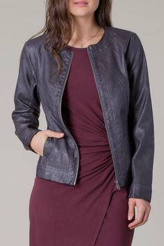A great twist on a classic style - a collarless, perforated faux-leather jacket. Dress it up or dress it down - a must have!   Perforated Faux Leather Jacket by Black Swan. Clothing - Jackets, Coats & Blazers - Jackets - Leather Long Island