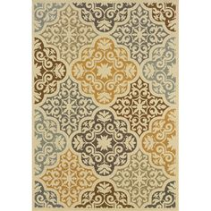 @Overstock.com - Outdoor/ Indoor Ivory/ Grey Area Rug - This beautiful area rug will help your outdoor spaces feel more like home in on trend shades of ivory, grey, gold, slate blue and brown. This durable polypropylene rug will endure the elements and continue to look great for many years.  http://www.overstock.com/Home-Garden/Outdoor-Indoor-Ivory-Grey-Area-Rug/7521425/product.html?CID=214117 $23.39