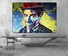 Charlie CHAPLIN Painting Charlie Chaplin Canvas ORIGINAL