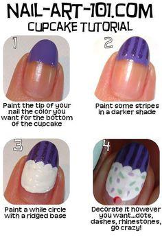 Easy Nail Design; Cupcake