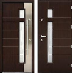 Drzwi wejściowe z aplikacjami inox model 437,1-437,11+ds3 w kolorze ciemny orzech