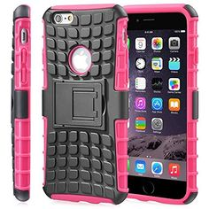 Fosmon [RUGGED] Apple iPhone 6 Plus Case - HYBO-RAGGED Heavy Duty Hybrid Protective Cover with Kickstand (Hot Pink)