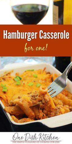 This mini hamburger casserole is baked with seasoned ground beef, pasta, and cheese. It's comfort food at its finest, easy to make and full of flavor. | One Dish Kitchen - Your Single Serving Recipe Source | #onedishkitchen #pasta #hamburgercasserole #dinnerforone #groundbeef